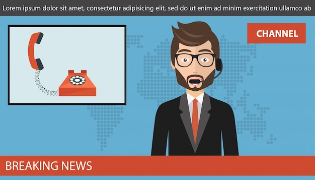 Concepto de llamada en vivo en las noticias