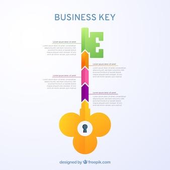 Concepto de llave de negocios con diseño de infografía