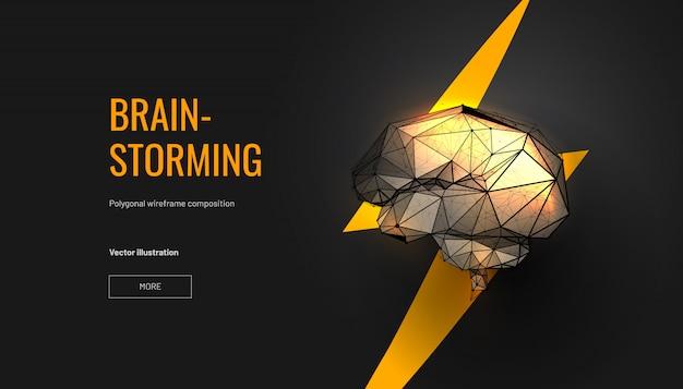 Concepto de lluvia de ideas. cerebro con estilo de estructura metálica de baja poli. concepto para lluvia de ideas, cerebro de poder