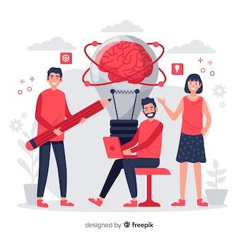 Concepto de lluvia de ideas de página de destino