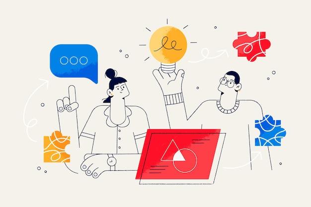 Concepto de lluvia de ideas para la página de destino