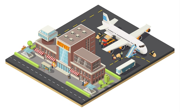 Concepto de logística aérea isométrica