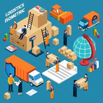 Concepto de logística de almacén isométrico