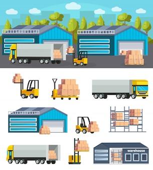 Concepto de logística de almacén