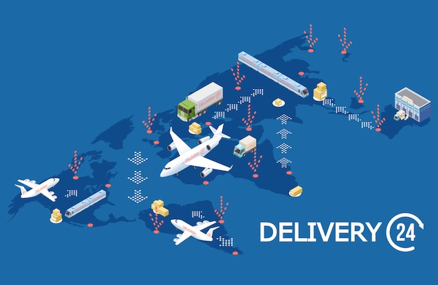 Concepto de logística global isométrica, ilustración de mapa mundial de entrega