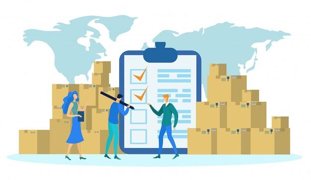 Concepto de logística, mapa mundial, cajas para entrega.