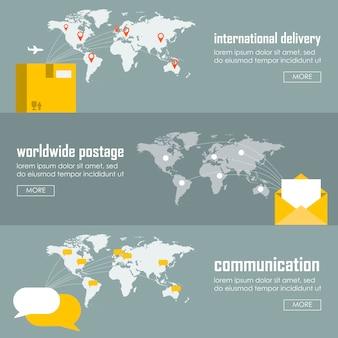 Concepto de logística plana de tipos de envío y entrega. conjunto de plantillas de infografía de ilustración vectorial web. proceso de recolección de envío marítimo, correo aéreo, entrega terrestre, barco, avión, avión, camioneta.