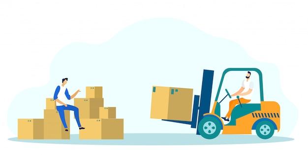 Concepto de logística, trabajador en paleta de camión cargador