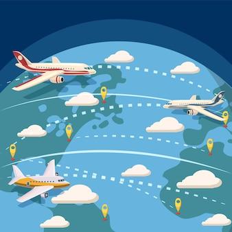 Concepto logístico global de la aviación. ilustración de dibujos animados de fondo logístico global de aviación