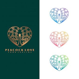 Concepto de logo de amor de pavo real.