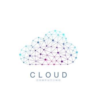 Concepto de logo de computación en la nube. banner de tecnología web de servicios de almacenamiento de bases de datos. diseño de concepto de idea creativa icono de vector de computación en la nube.