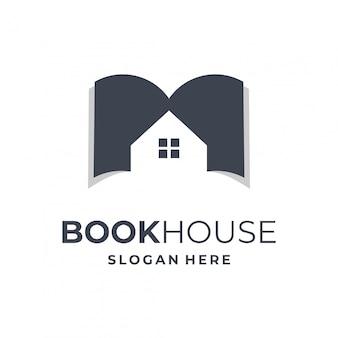 Concepto de logo de libro y casa.