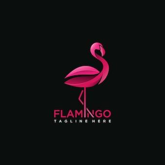 Concepto de logo de pájaro flamenco