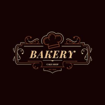 Concepto de logo de panadería retro
