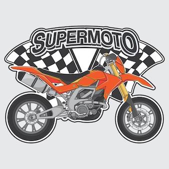 Concepto de logo de supermoto extremo.