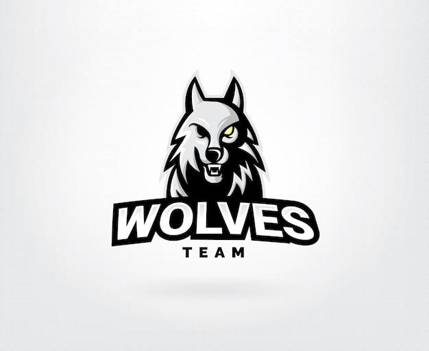 Concepto de logo de vector de cabeza de lobo
