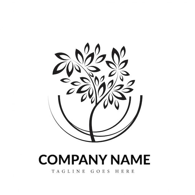 Concepto de logotipo de arte de línea de árbol blanco y negro