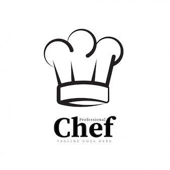 Concepto de logotipo de arte de línea de chef blanco y negro
