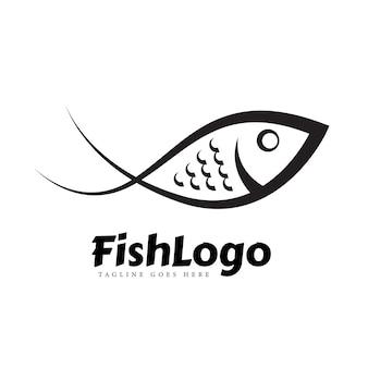 Concepto de logotipo de arte de línea de pescado blanco y negro