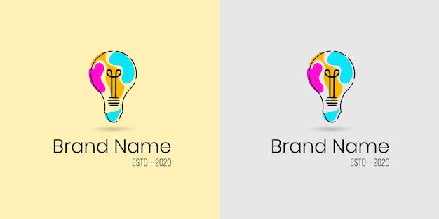 Concepto de logotipo de bombilla colorida