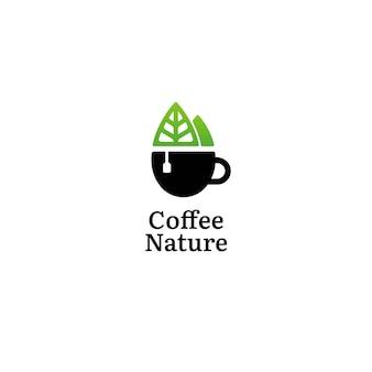Concepto de logotipo de café verde naturaleza co