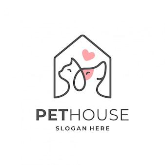 Concepto de logotipo de casa de mascotas con elemento de perro y gato.