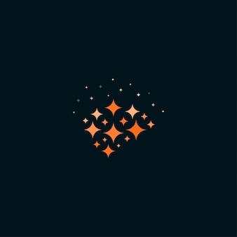 Concepto de logotipo de cerebro inteligente símbolo de cerebro abstracto con destellos creatividad pensar símbolos de proceso mente