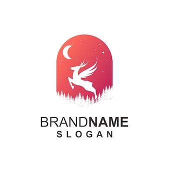 Concepto de logotipo de ciervo volante