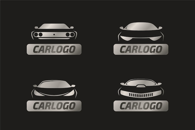 Concepto de logotipo de coche metálico realista