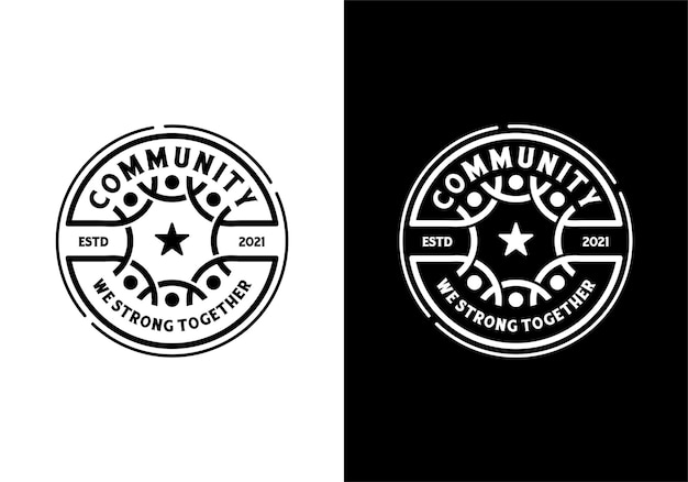 Concepto de logotipo de comunidad social humana y trabajo en equipo. insignia, emblema, sello