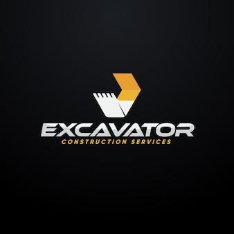 Concepto de logotipo de construcción de excavadora