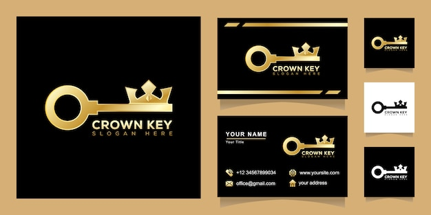 Concepto de logotipo de crown key, diseño de logotipo de king key real estate con diseño de tarjeta de visita