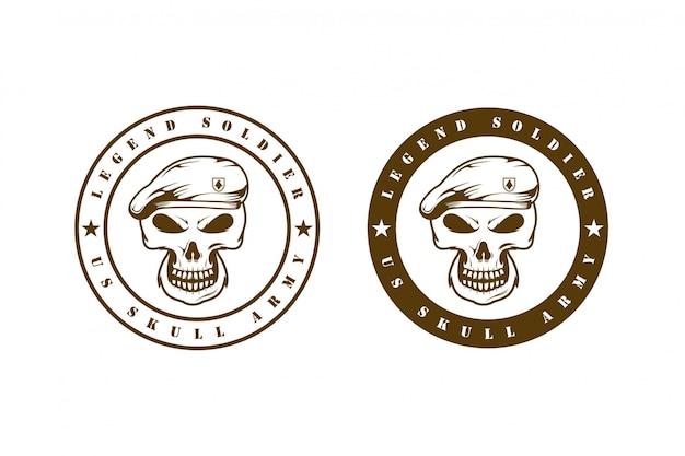 Concepto de logotipo de emblema de ejército de cráneo