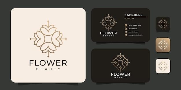 Concepto de logotipo de flor de monograma minimalista para salón de yoga spa