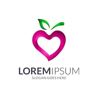 Concepto de logotipo de fruta de amor