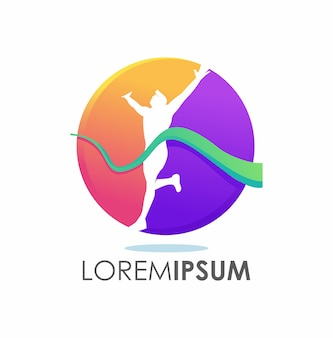 Concepto de logotipo ganador ganador colorido