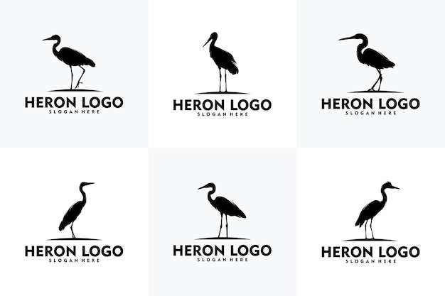 Concepto de logotipo de garza simple arte vectorial