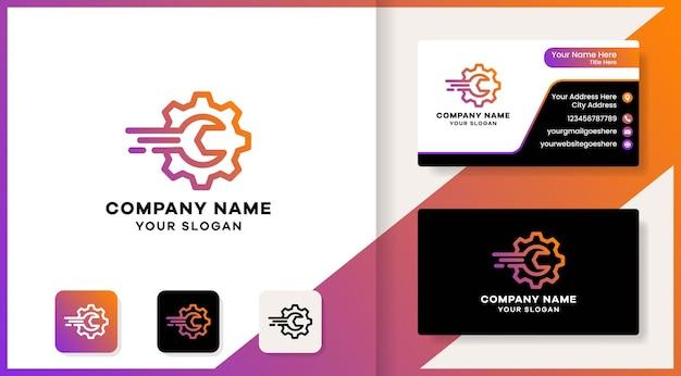 Concepto de logotipo de herramienta de engranaje con diseño de línea y tarjeta de visita