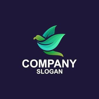 Concepto de logotipo de hoja de pájaro