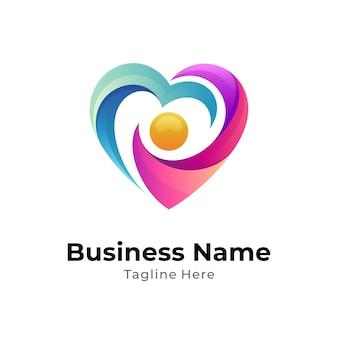 Concepto de logotipo humano y corazón