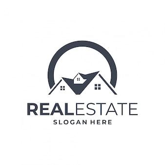 Concepto de logotipo inmobiliario con elemento o inicial.