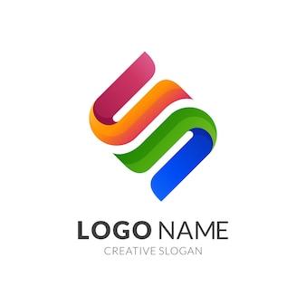 Concepto de logotipo letra s, estilo de logotipo moderno en colores vibrantes degradados
