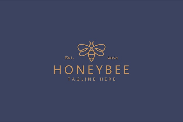 Concepto de logotipo de línea simple dulce de miel de abeja