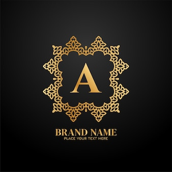 Concepto de logotipo de marca de lujo letra a