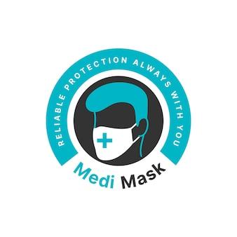 Concepto de logotipo de máscara facial