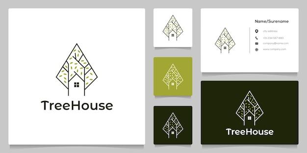 Concepto de logotipo minimalista de casa de árbol verde abstracto