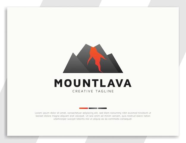 Concepto de logotipo de montaña de volcán de lava caliente