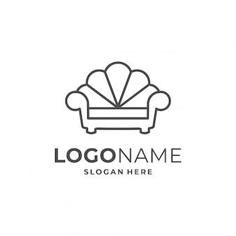 Concepto de logotipo de muebles con elemento de sofá.