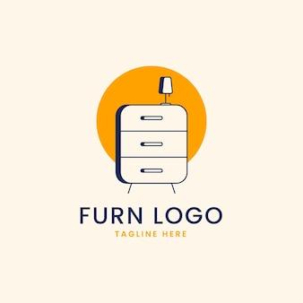 Concepto de logotipo de muebles con mesita de noche.