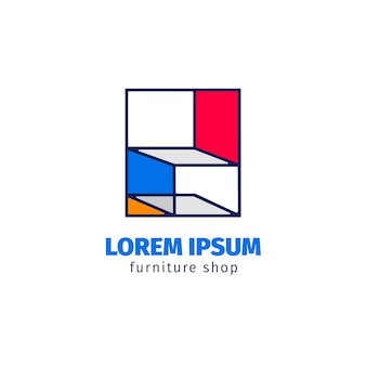 Concepto de logotipo de muebles minimalistas.